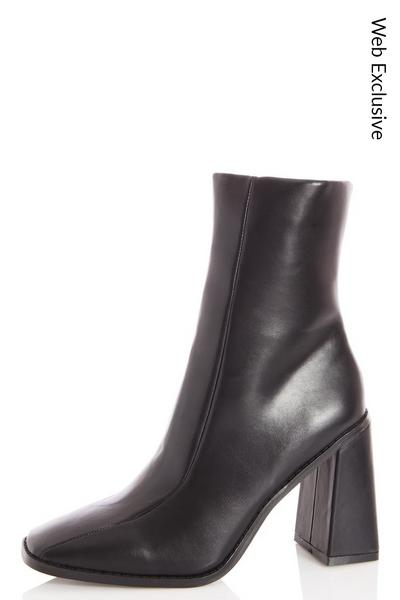 Black Square Toe Flare Heel Ankle Boots
